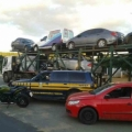 PRF apreende veículos roubados e drogas em caminhão cegonha